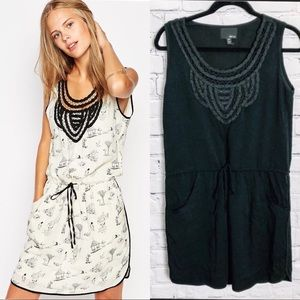 GREYLIN Black Embroidered Neckline Tunic Dress